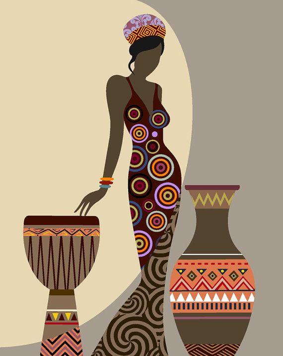 African American Wall Decor african woman art, afrocentric art, african wall art, afrocentric