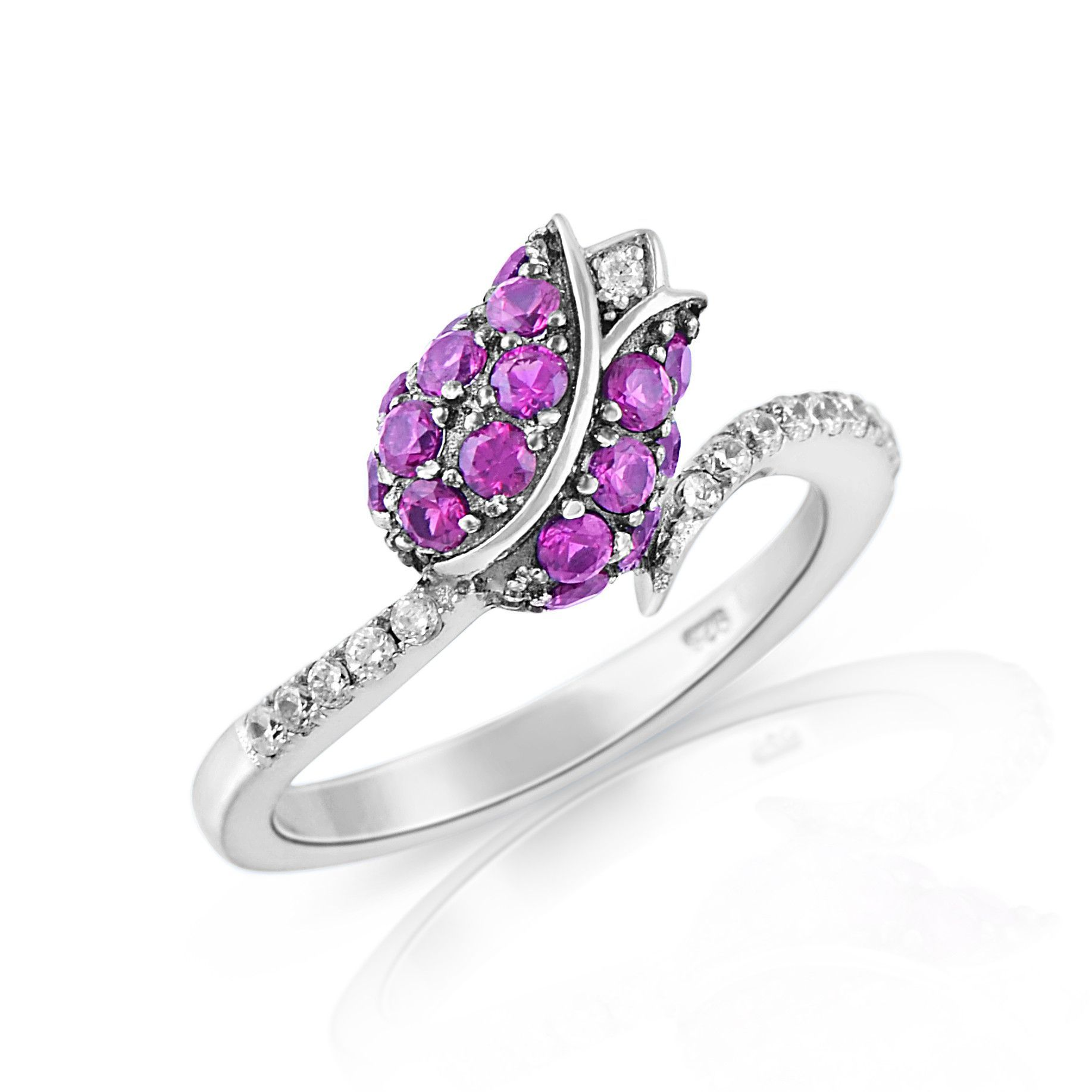 Sterling Silver Simulated Ruby Rose Ring (Size 4 - 9)