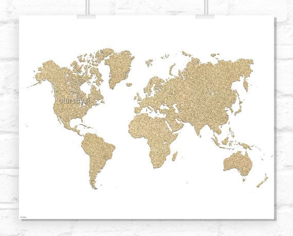 Instant download 10x8 printable world map golden glitter map instant download 10x8 printable world map golden glitter map print travel wall art gumiabroncs Image collections