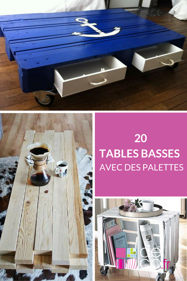 20 id es pour fabriquer une table basse avec des palettes photos et tables. Black Bedroom Furniture Sets. Home Design Ideas