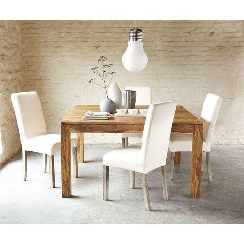 Sedia sfoderabile bianca in tessuto e legno