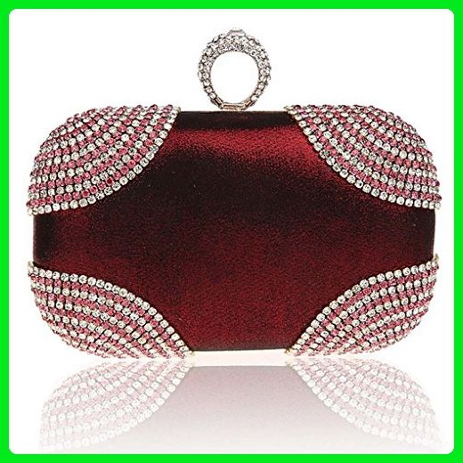 Kaxidy Pu Crystal Diamond Sequin Evening Bags Wedding Bridal Prom Purse Handbag Clutch Bag