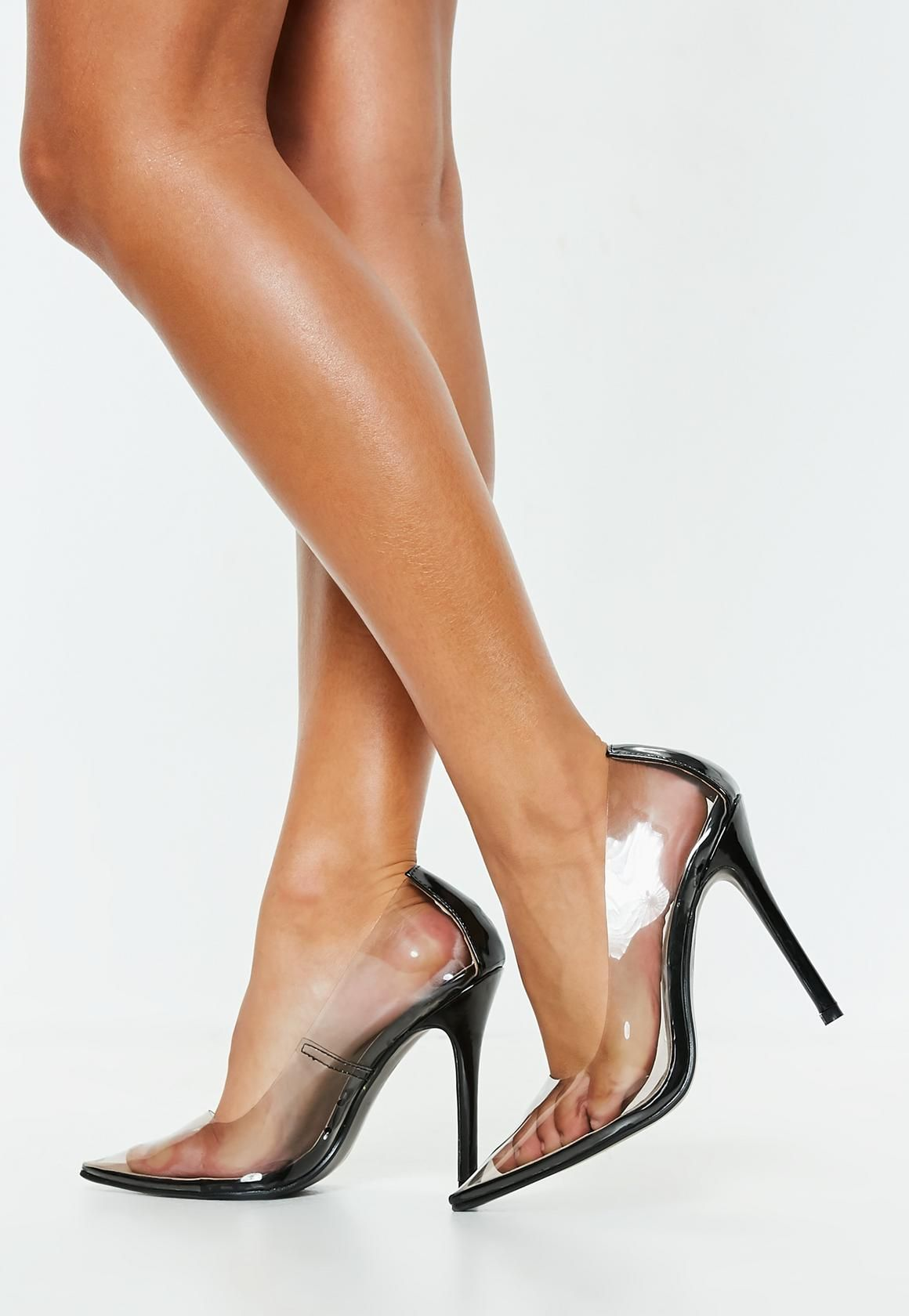 Missguided - Black Clear Pointed Pumps  c43541f963f2