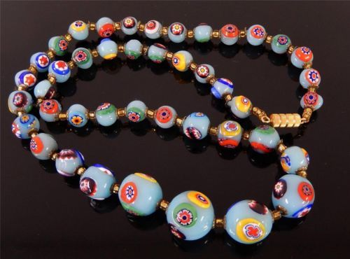 "Beautiful Sky Blue Millefiori Venetian Art Glass Bead Necklace 23"" Vintage 027B 