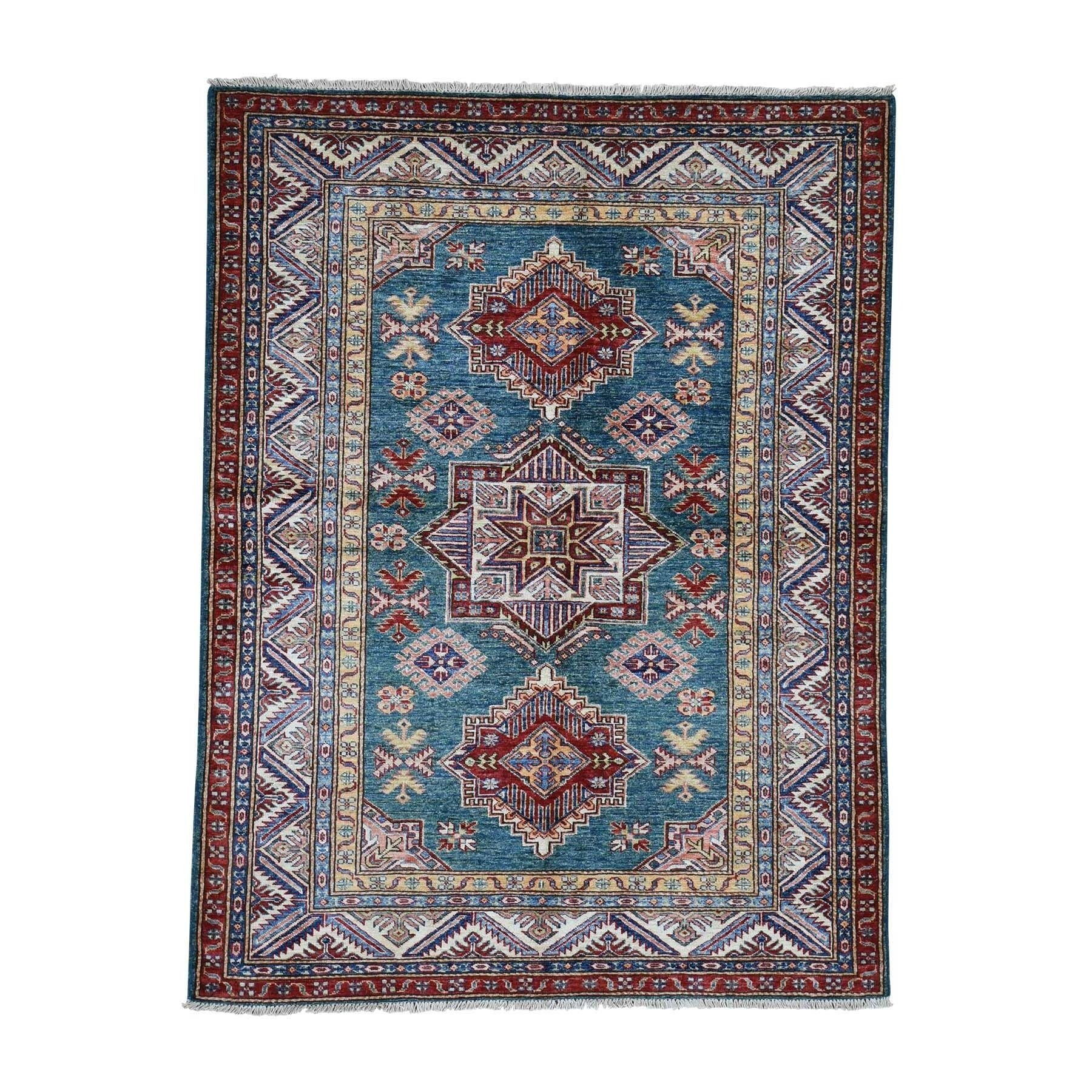 Shahbanu Rugs Super Kazak Pure Wool Geometric Design Hand Knotted Oriental Rug 5 0 X 6 6 5 0 X 6 6 Area Rugs Rugs Colorful Rugs