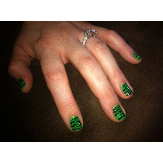 Green with zebra nails