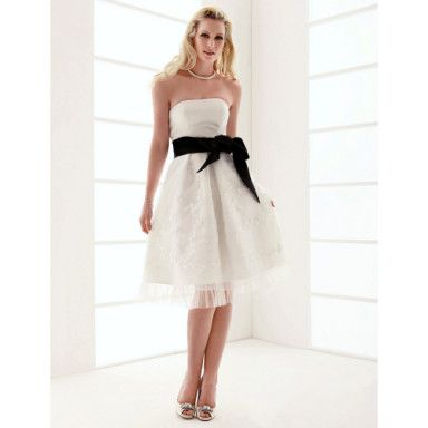 A-line Strapless Knee-length Organza Over Satin Wedding Dress – US$ 149.99