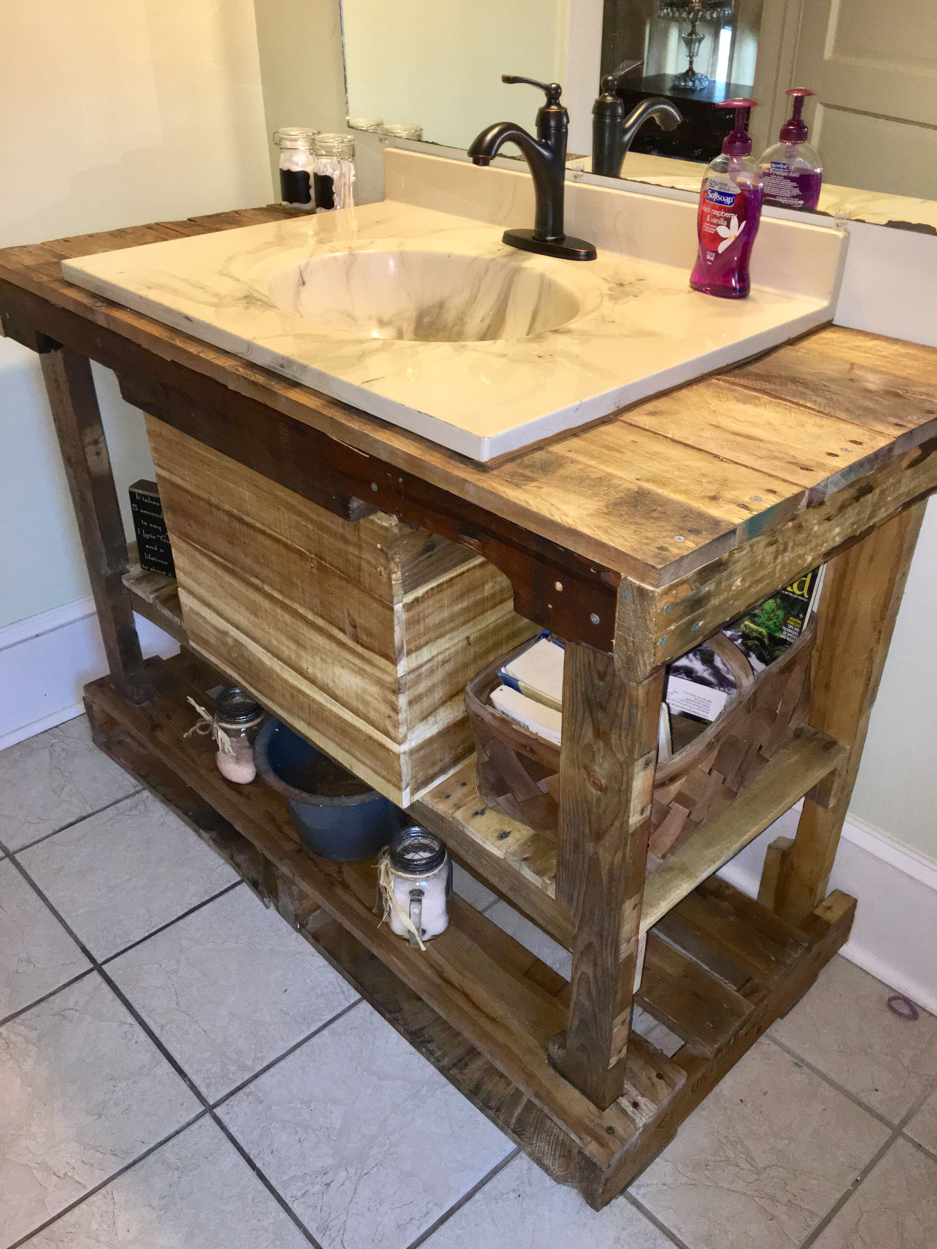 Bathroom Sink My Husband Made Out Of Pallets Rustic Pallet Bathroom Rustic Bathroom Vanities Rustic Bathroom Sinks
