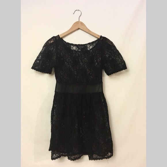 Top shop dress TOPSHOP black lace dress. Very sheer but can wear a long bando  underneath. Great condition Topshop Dresses Mini