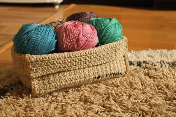 вязаная крючком коробка для хранения ниток | Baskets ...