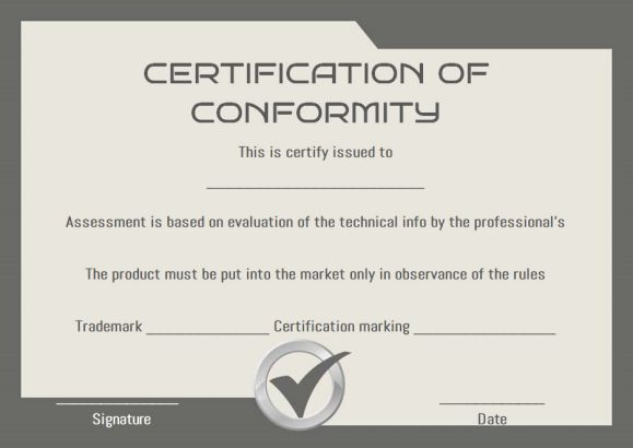 Certificate Of Conformity Sample Templates  Certificate Of
