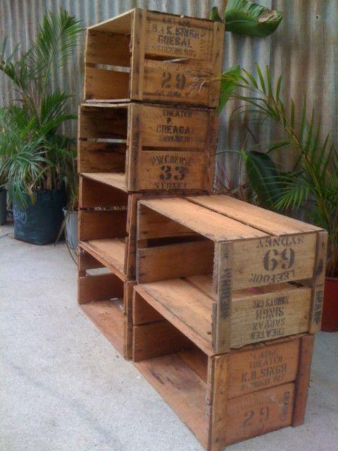 Wooden antique fruit boxes - crates - storage shelf - shelves | eBay & Wooden antique fruit boxes - crates - storage shelf - shelves | eBay ...