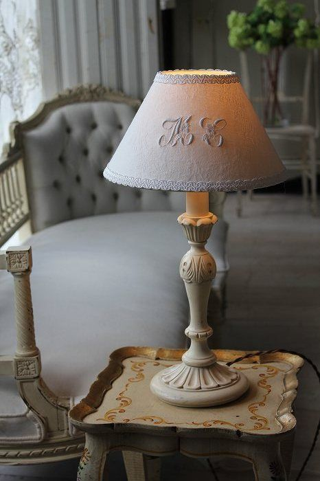 Nightstand lamp chandelier lamps lampshades creative embroidery idea paint bedroom décor country chic french country french interiors