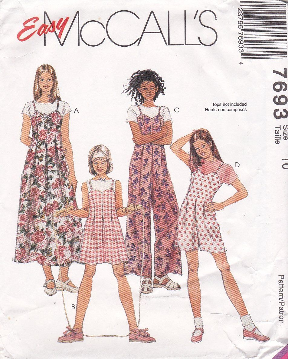 McCall\'s Sewing Pattern 7693 Girls Size 10 Easy Jumper Jumpsuit ...