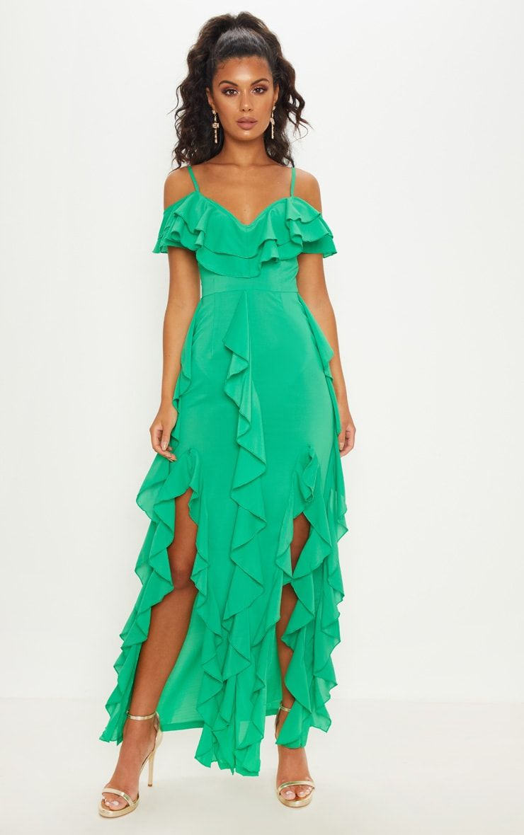 Bright Green Cold Shoulder Ruffle Detail Maxi Dress In 2021 Dresses Maxi Dress Dress Collection [ 1180 x 740 Pixel ]