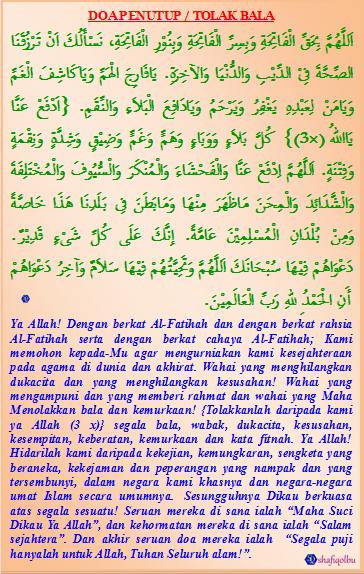 Penutup Doa Kedua Doa Tolak Bala Kalam Doa