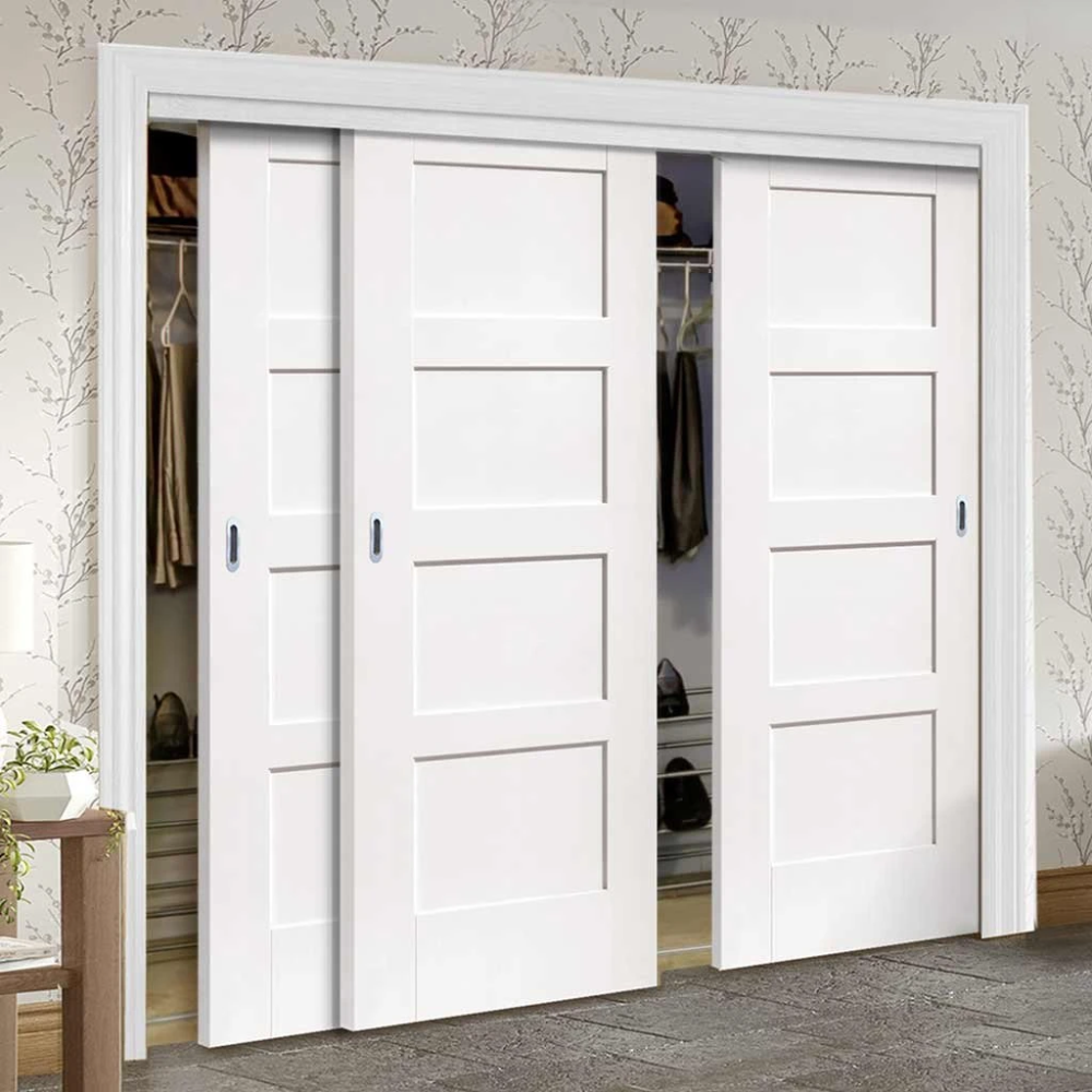 Three Sliding Wardrobe Doors Frame Kit Shaker Door White Primed Bedroom Closet Doors Sliding Wardrobe Doors Sliding Closet Doors
