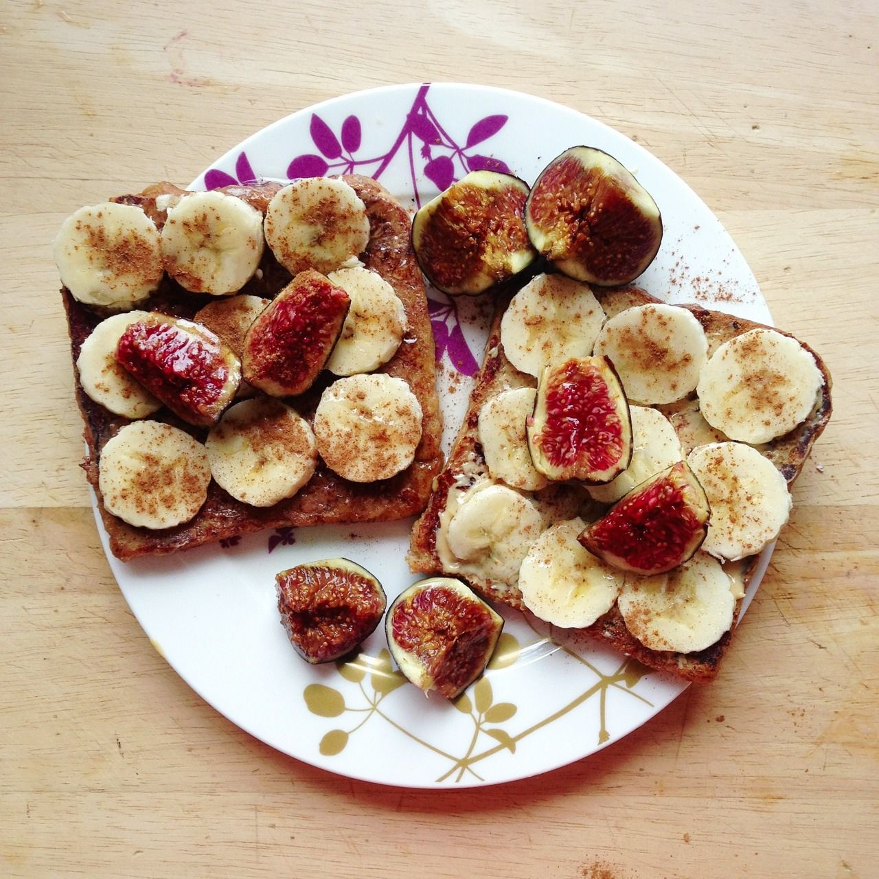 Breakfast: 1/2 grapefruit (not pictured) and vegan french toast with pb and almond butter, banana, cinnamon and agave and figs