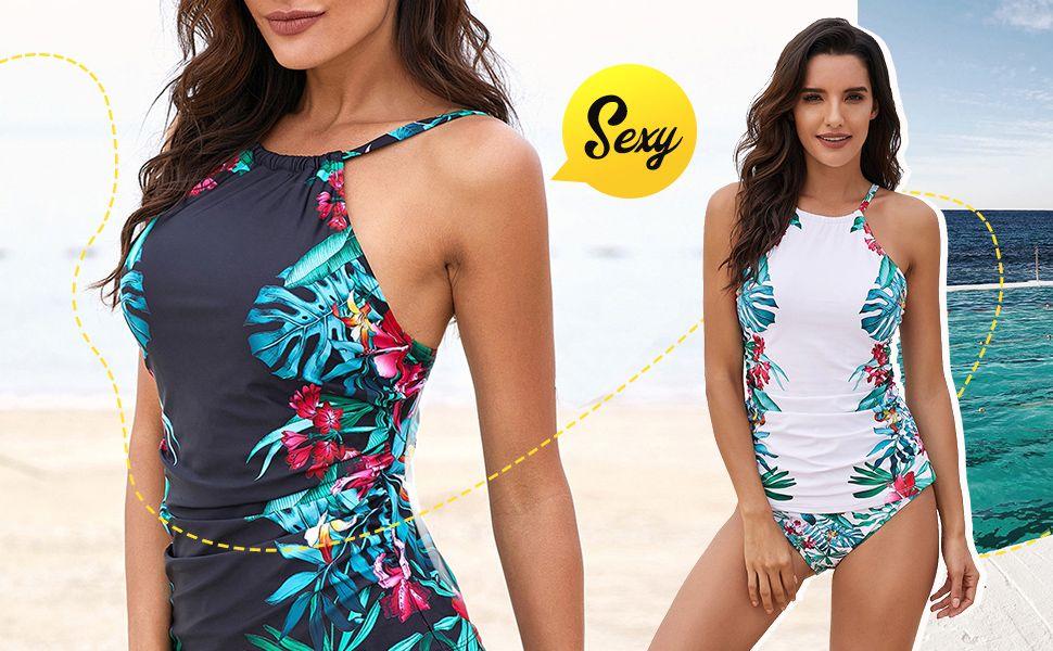 WoldGirls Womens Bathing Suits Halter Bandeau Padded Two Piece Swimsuit Bikini Set-Light Blue #beachvacationclothes