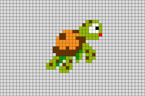 Finding Nemo Turtle Pixel Art | Brik Pixel Art Designs