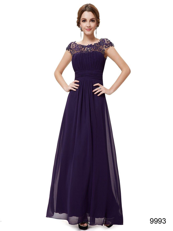 Purple lacey neckline open back bridesmaid dress bridesmaid