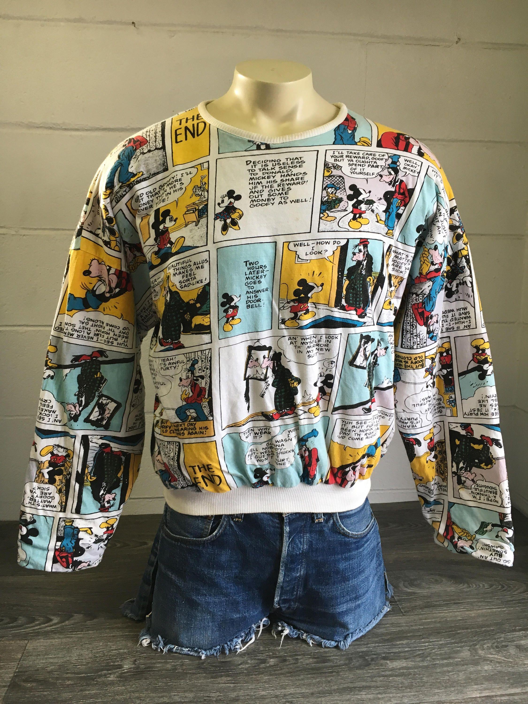 2f7b2686 MICKEY MOUSE Sweater Reversible Vintage 80s 90s Sweatshirt Walt Disney  Character Goofy Long Sleeve J G Hook