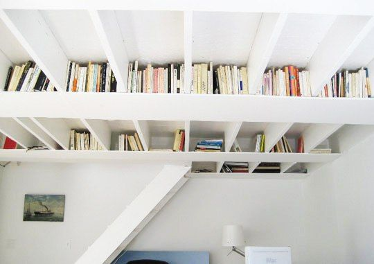 Do it yourself bookshelf rafters shelving solutions basement use the rafters area or ceiling area of a basement storage room or closet to store books like a book shelf creative use of small spaces small rooms to solutioingenieria Images