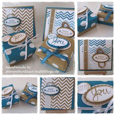Verpackungen Boxen mit passenden Karten Work of Art Punkte Dots Kandiszucker Petrol