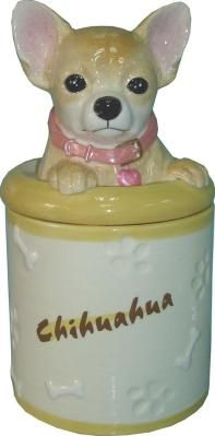 Chihuahua Cookie Jar Endearing Chihuahua Collectible Dog Puppy Cookie Jar Container Statue Figurine