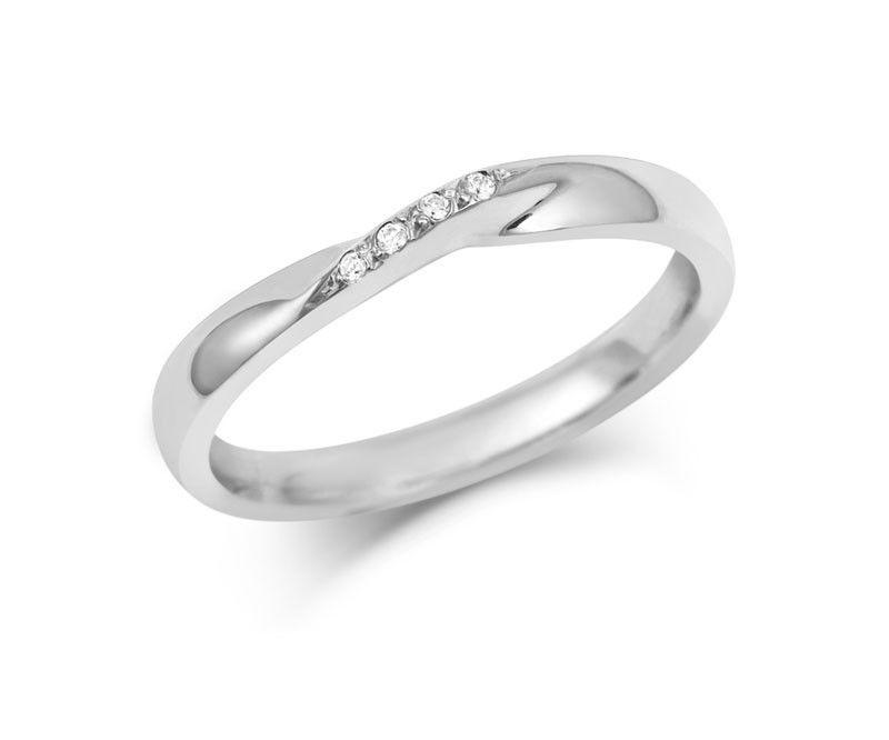 Ribbon Twist Wedding Ring with Diamonds Yellow White or Rose Gold