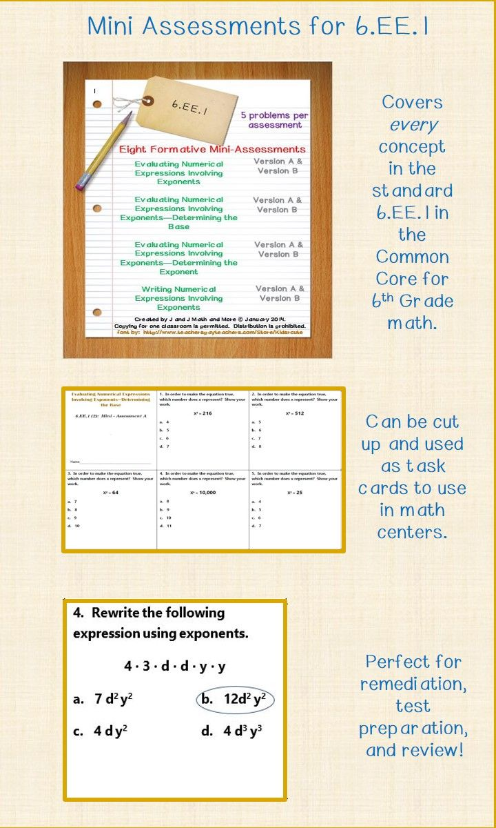 6th Grade Math 6 Ee 1 Mini Assessments Math Assessment Teaching Upper Elementary Sixth Grade Math