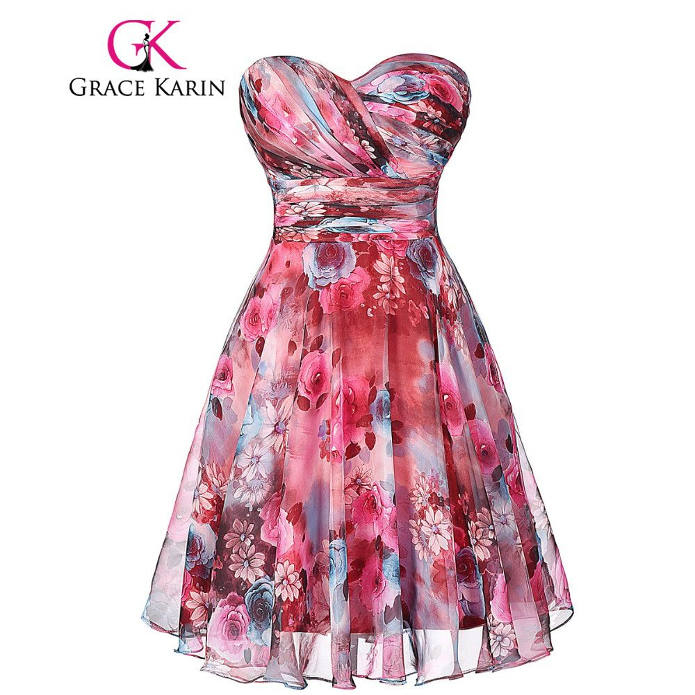2017 Fashion robe de cocktail Grace Karin Floral Print Short ...