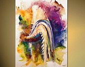 Judaica Print on Canvas Religious Print Jewish Art  LIMITED EDITION  8 of 30  Embellished (brush strokes added by the artist) Osnat 48""