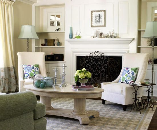 Interesting Faux Windows on the sides of the fireplace.  #windows #mirrors
