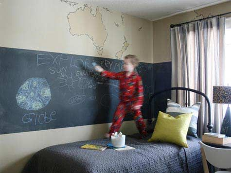 A Simple Strip Painted In Blackboard Paint Throughout Neos - Color ideas for boys bedroom