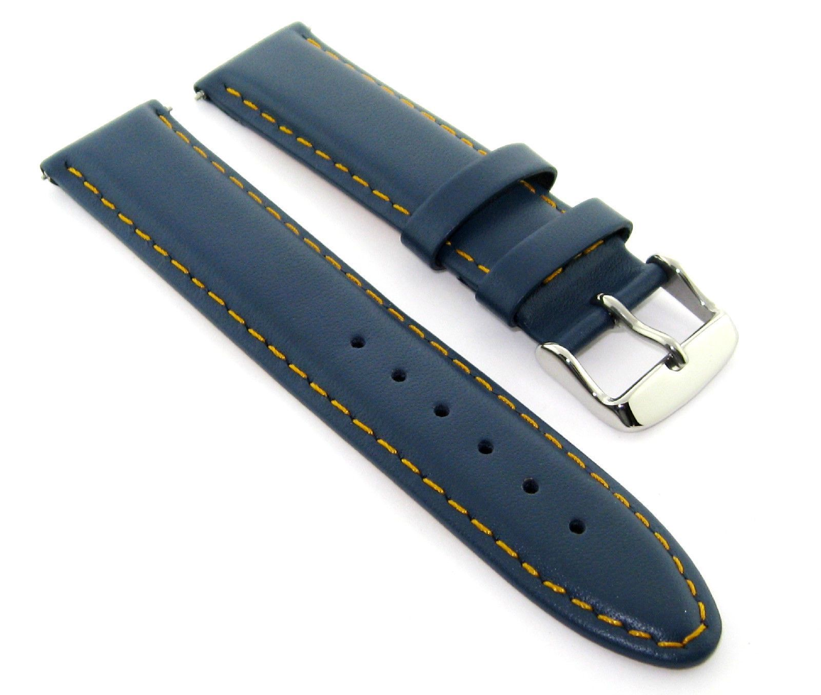 19Mm Leather Watch Strap Smooth Band For Tissot Prc200 Blue Orange Stitchins #16