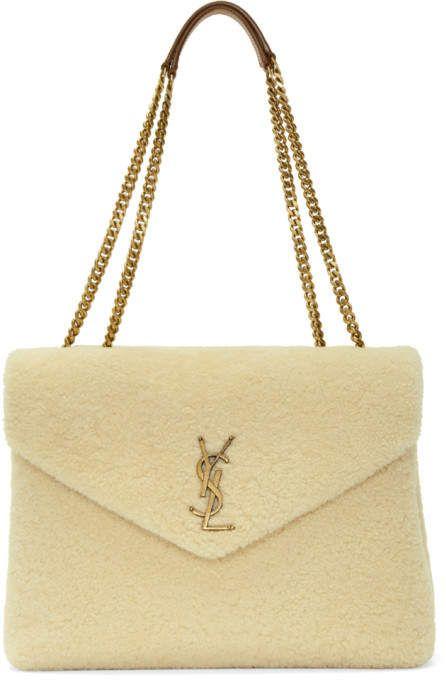 e52e501ad780 Saint Laurent White Medium Loulou Shearling Chain Bag