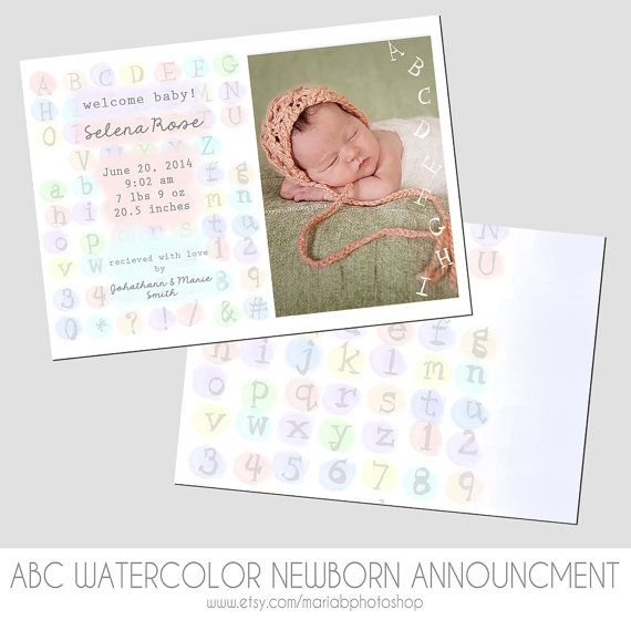 Newborn Baby Photo Announcement Template  ABC by MariaBPhotoShop, $8.00
