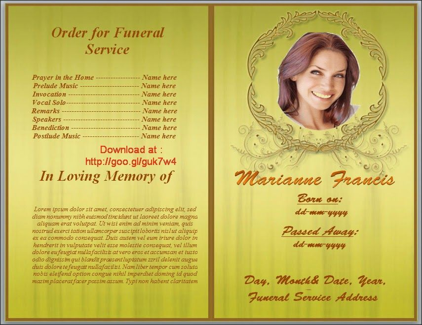 High Quality Get Yellow Themed Free Funeral Program Template MS Word To Download  Http://goo  Free Funeral Programs Downloads