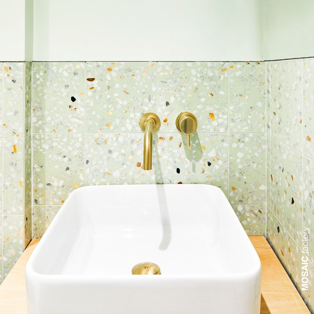 Green Terrazzo Bathroom Backsplash Tile From Mosaic Factory