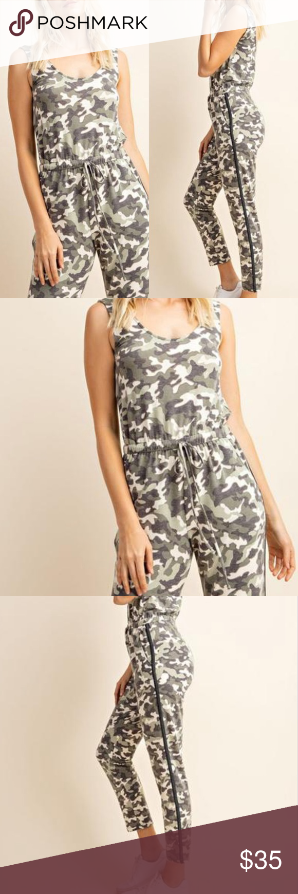 Camo Jumpsuit Super cute Camo jumpsuit. Size medium. Fits true to size. Has elastic waistband, scoop neck in front and back. Super comfy! Pants Jumpsuits & Rompers #myposhpicks