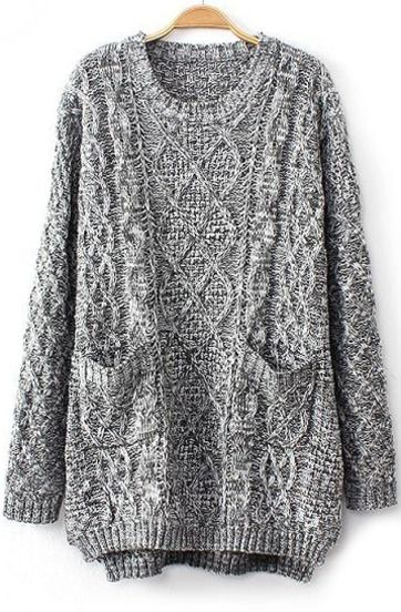 28.33 Grey Long Sleeve Cable Knit Pockets Sweater | Shopaholic ...
