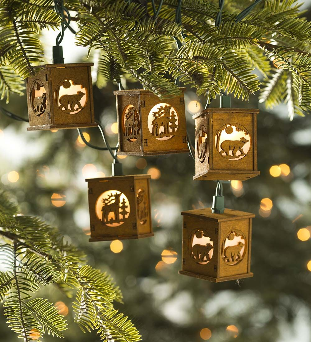How To String Lights On A Christmas Tree Mesmerizing Wooden Bear & Deer Lantern String Lights  Christmas Tree Lights Design Inspiration