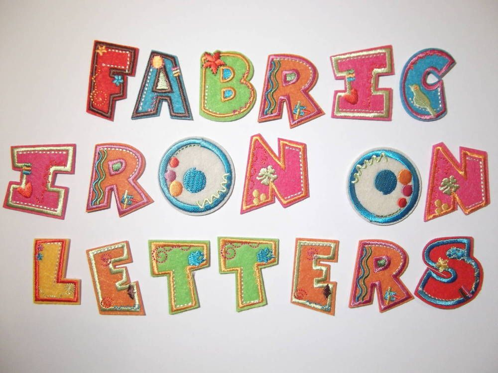 Fabric iron on letters embroidered applique motif on for Wool felt letters