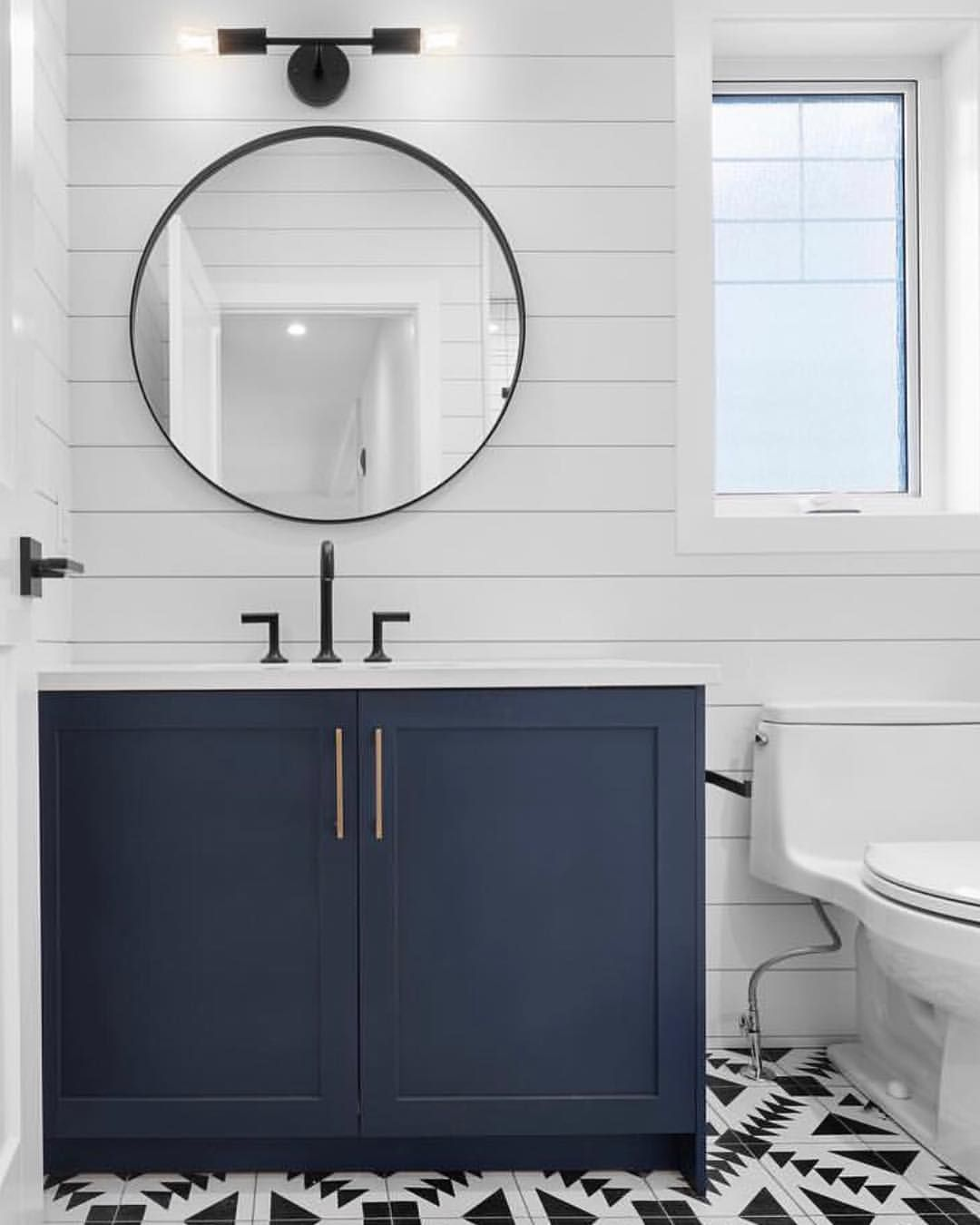 Beautifully Graphic Design By Hyunbiagi Remax Including Our Venus Sconce In Matte Black Faucet By Round Mirror Bathroom Blue Bathroom Vanity Small Bathroom [ 1350 x 1080 Pixel ]