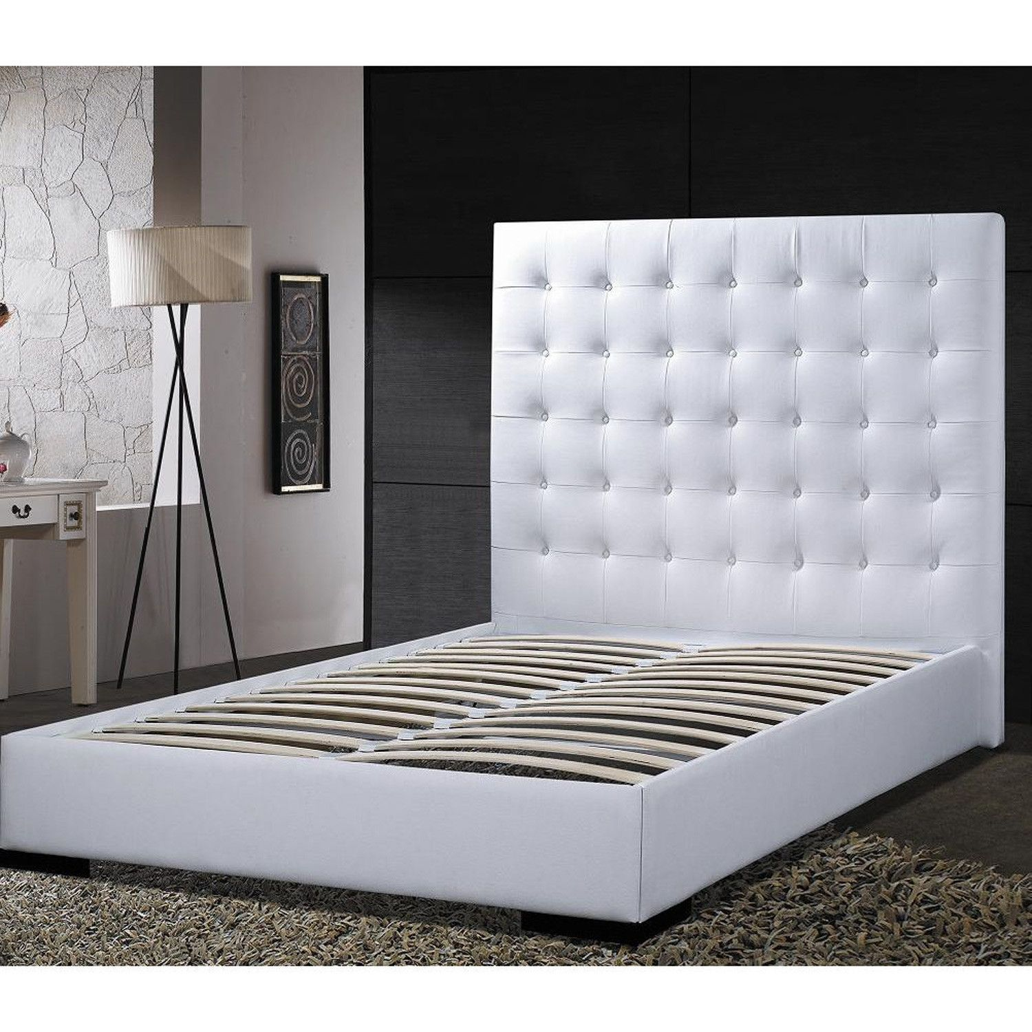 Queen size Modern Platform Bed with White Faux Leather Headboard ...