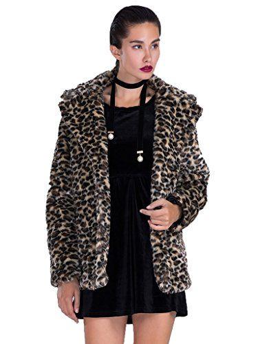 PERSUN Womens Outerwear Long Sleeve Leopard Print Lapel Faux Fur Coat Jacket - http://www.darrenblogs.com/2017/01/persun-womens-outerwear-long-sleeve-leopard-print-lapel-faux-fur-coat-jacket/