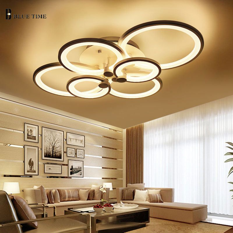 White Black Golden Modern Led Ceiling Lamp For Living Room Bedroom
