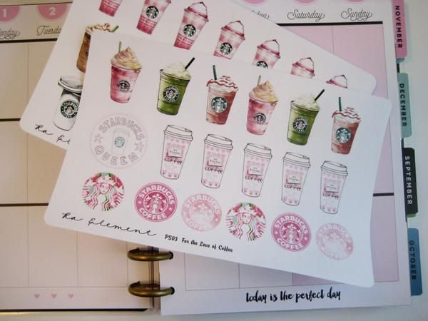 For the Love of Starbucks Coffee! New Ra Element planner stickers