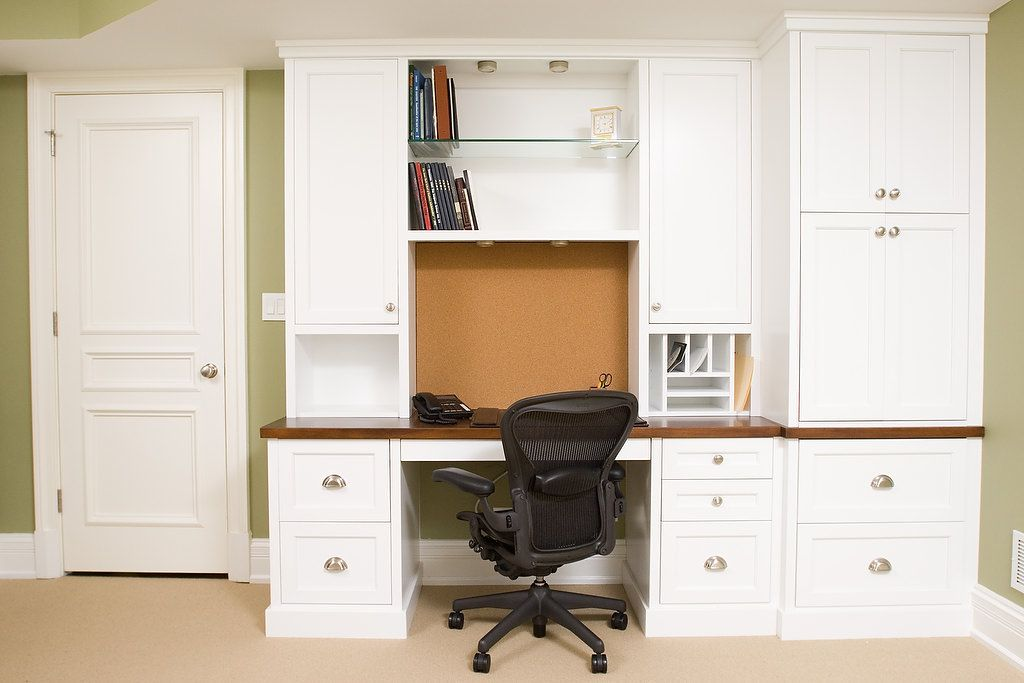 White Painted Office Cabinets and Desks 1 BH Woodworking Custom ...